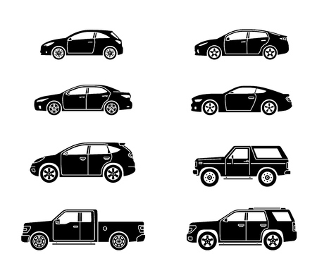 Set of personal cars. Set of automobiles in flat style. Sedan, sport coupe car, hatchback, offroad suv, pickup. Side view. Vector illustration. Banco de Imagens - 114680379