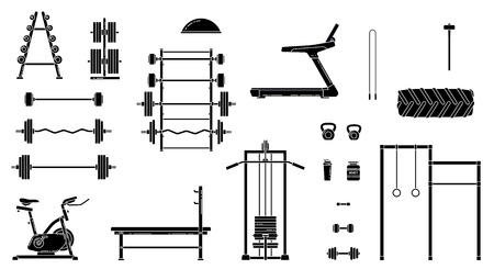 Gym equipment set. Various fitness accessories collection. Bodybuilding and crossfit equipement isolated. Flat style. Vector illustration. Banco de Imagens - 114680382