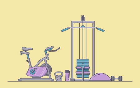 Gym equipment set. Various fitness accessories collection. Bodybuilding and crossfit equipement isolated. Flat style. Vector illustration. Banco de Imagens - 114680378