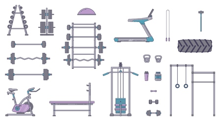Gym equipment set. Various fitness accessories collection. Bodybuilding and crossfit equipement isolated. Flat style. Vector illustration. Banco de Imagens - 114680381
