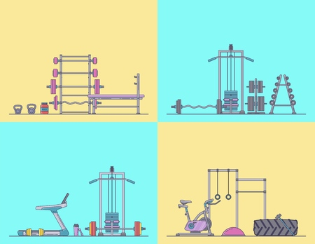 Gym equipment set. Various fitness accessories collection. Bodybuilding and crossfit equipement isolated. Flat style. Vector illustration. Banco de Imagens - 114680380