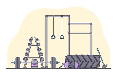 Gym equipment set. Various fitness accessories collection. Bodybuilding and crossfit equipement isolated. Flat style. Vector illustration. Banco de Imagens - 114680383
