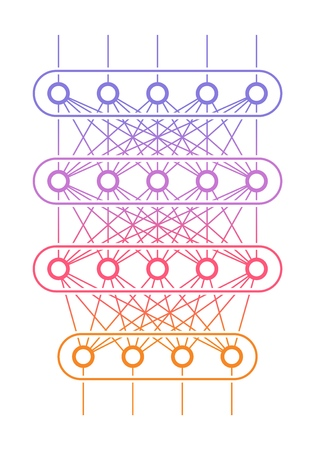 Multi level neural network. Artificial intelligence concept. Computer neuron net. Logical scheme of a ai perception. Vector illustration. Illustration