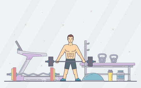 Man performing crossfit exercises in the gym. Young male person doing workout. Fitness, bodybuilding concept banner. Vector illustration. Ilustração