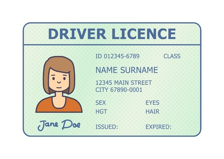 Car driver licence identification. Driving licence plastic card with woman photo. Flat style isolated. Vector illustration.