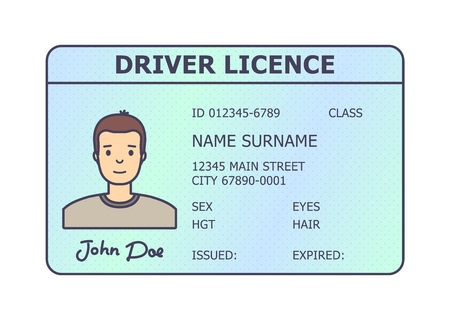 Car driver licence identification. Driving licence plastic card with man photo. Flat style isolated. Vector illustration. Ilustração
