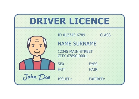 Car driver licence identification. Driving licence plastic card with man photo. Flat style isolated. Vector illustration. Imagens - 114680417