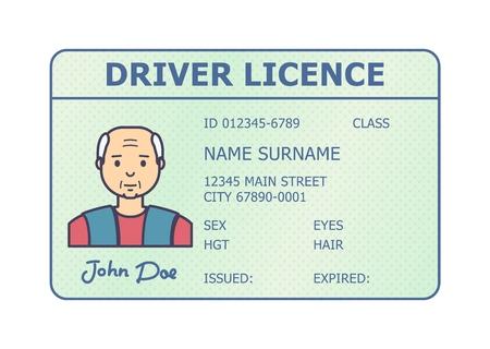 Identifikation des Autoführerscheins. Führerschein-Plastikkarte mit Mannfoto. Flacher Stil isoliert. Vektor-Illustration.