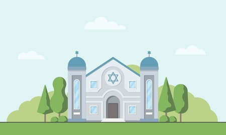 Synagogue. Jewish traditional religion building. Judaism worship place. Vector illustration.