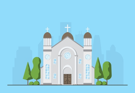 Catholic church exterior. Christian traditional religion temple building. Catholic worship place. Vector illustration. Banco de Imagens - 114680656