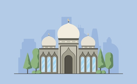 Muslim mosque. Islamic traditional religion minaret building. Islam worship place. Vector illustration.