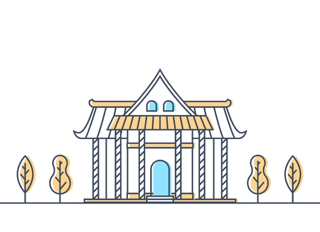 Buddhist temple exterior. Buddhism traditional religion temple building. Worship place. Vector illustration.
