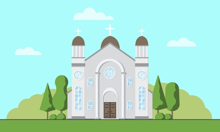 Catholic church exterior. Christian traditional religion temple building. Catholic worship place. Vector illustration. Ilustrace