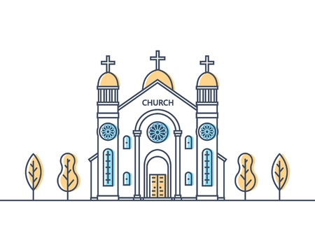 Catholic church exterior. Christian traditional religion temple building. Catholic worship place. Vector illustration. Stock Illustratie
