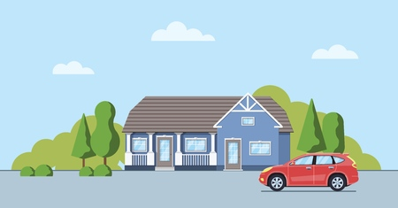 Living house with trees and bushes. Cottage with car  in the flat style. Real estate concept. Neighborhood with cityscape background. Vector illustration. Banco de Imagens - 114680668