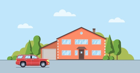 Living house with trees and bushes. Cottage with car  in the flat style. Real estate concept. Neighborhood with cityscape background. Vector illustration. Illustration