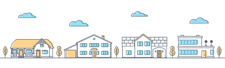 Street with different living houses. Cottages in a row. Suburban road. Apartment buildings and trees. Vector illustration.