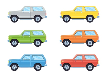 Off-road 4x4 suv car. Side view offroad car in different colors. Flat style. Vector illustration.