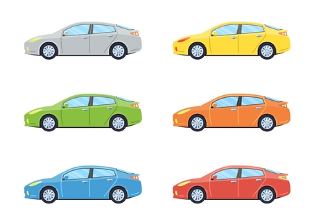 Sedan personal car. Side view cars in different colors. Flat style. Vector illustration.