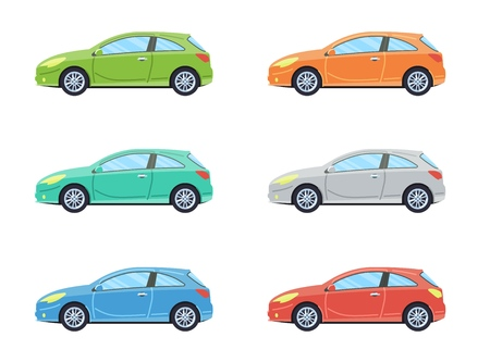 Hatchback personal car. Side view cars in different colors. Flat style. Vector illustration.