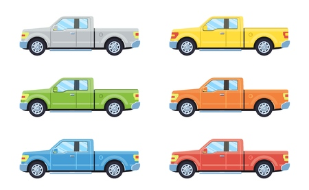 Off-road 4x4 pickup car. Side view offroad car in different colors. Flat style. Vector illustration.