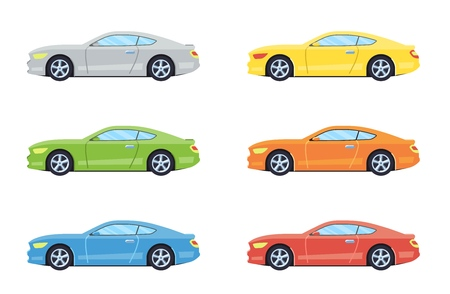 Sport coupe car. Side view cars in different colors. Flat style. Vector illustration. Ilustrace