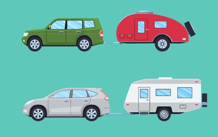 Suv with camper trailer. Offroad car with camper. Vehicle for road travelling. Flat style. Vector illustration.