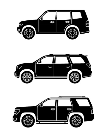 Set of personal cars. Set of off-road automobiles in flat style. Offroad suv. Side view. Vector illustration. Ilustrace