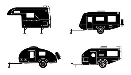 Set of camper trailer. Camping trailers for travel. Flat style. Vector illustration.