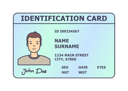 Person identification badge. Id plastic card with personal data and photo. Flat style isolated. Vector illustration. Imagens - 114680835