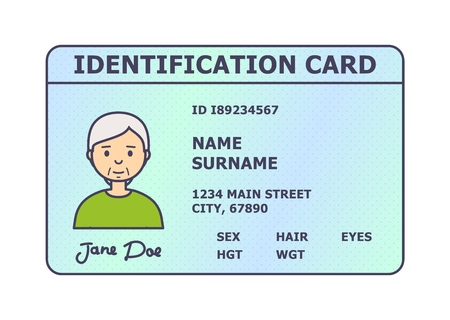Person identification badge. Id plastic card with personal data and photo. Flat style isolated. Vector illustration.