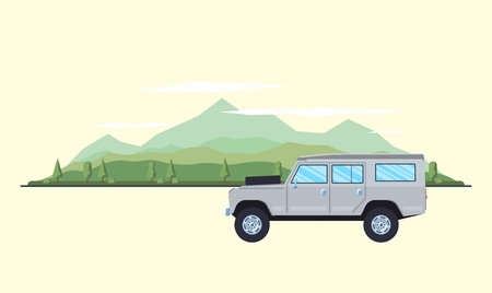 Outdoor car travel concept. Offroad suv landscape. Summer auto adventure trip backgrounds. Flat style. Vector illustration.