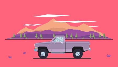 Outdoor car travel concept. Offroad pickup landscape.