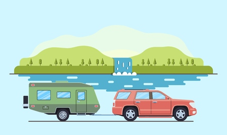 Outdoor car camper travel concept. Offroad suv landscape. Summer auto adventure trip backgrounds. Flat style. Vector illustration. Ilustrace