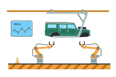 Thin line style car assembly line. Automatic auto production conveyor. Robotic car machinery industry concept. Vector illustration. Imagens - 125793359