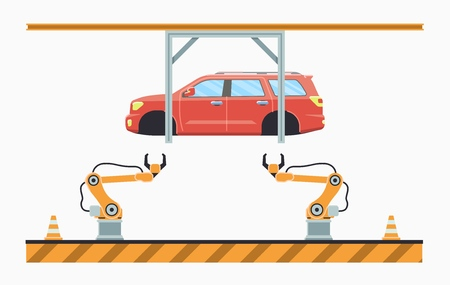 Thin line style car assembly line. Automatic auto production conveyor. Robotic car machinery industry concept. Vector illustration. Imagens - 125793361