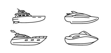 Set of speed boats. Cutter ship. Speedboat side view. Vector illustration.
