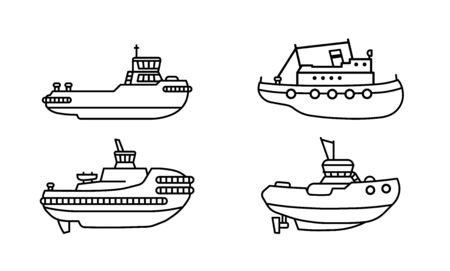 Set of tugboats. Collection of towboat ships in flat style. Vector illustration.