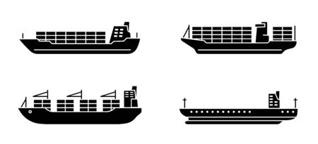 Set of large cargo ships. Modern container sea vessel. Vector illustration.