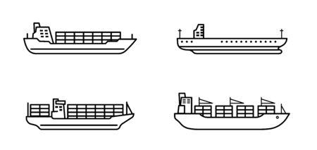 Set of large cargo ships. Modern container sea vessel.