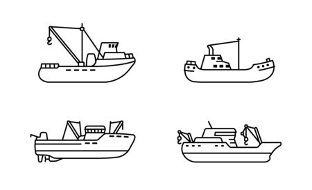 Set of fishing ships. Sea trawler vessel. Fishing boats side view. Vector illustration. Ilustração