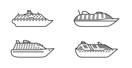 Set of oceanic passenger ships. Large ocean cruise liner. Passenger ship side view. Vector illustration.