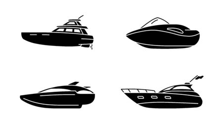 Set of speed boats. Cutter ship. Speedboat side view. Ilustração