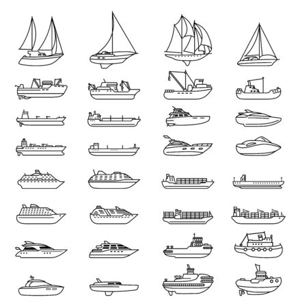 Ships and boats set. Barge and cargo ship, tanker, sailing vessel, cruise liner, tugboat, fishing and speed boat.