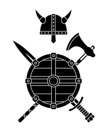 Viking weapons - old medieval shield, helmet, hatchet, sword, ax, axe, bow. Set of warrior equipment. Ilustração