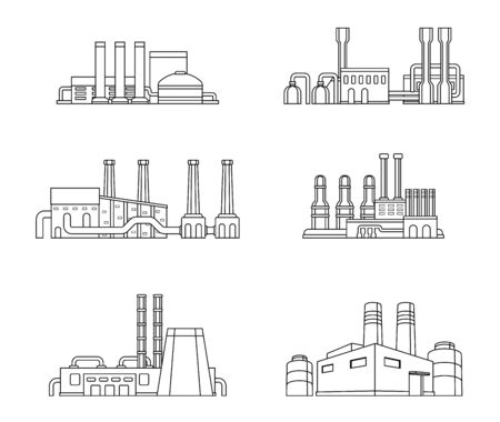 Set of industrial manufactory buildings. Factory, plant, energy and power station. Flat design. Vector illustration.