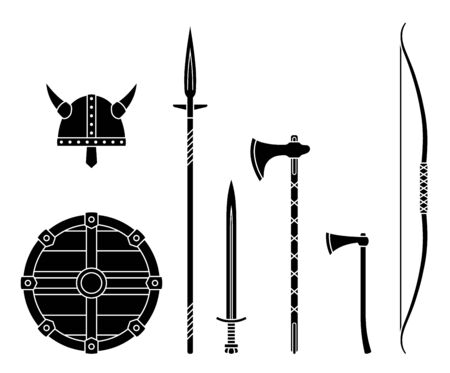 Viking weapons - old medieval shield, helmet, hatchet, sword, ax, axe, bow, spear. Set of warrior equipment.