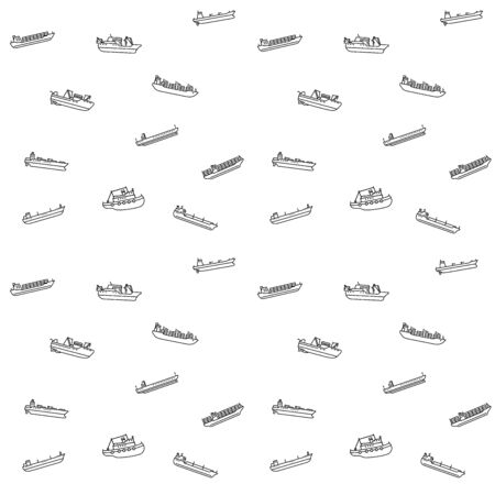 Seamless patternt of large cargo and tanker ships. Seamless background of modern container sea vessel and tankers. Vector illustration. 向量圖像