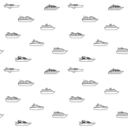 Seamless background of oceanic passenger ships. Seamless pattern of ocean yachts and cruise liner. Passenger ship side view. Vector illustration.