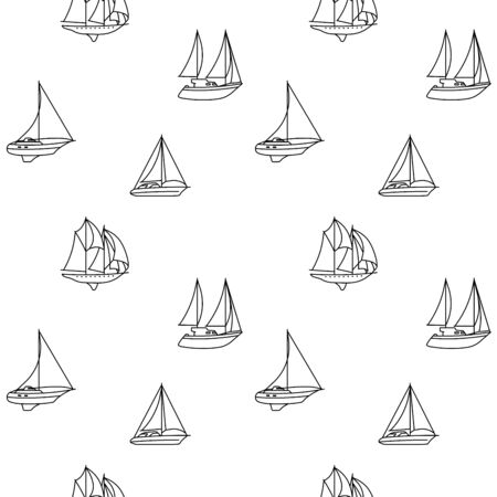 Seamless backround of sailing ships. Seamless pattern of vintage sailing boats. Vector illustration.